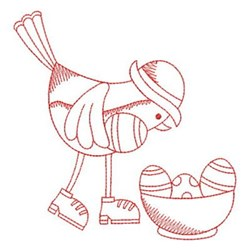 Redwork Easter Chick & Eggs embroidery design