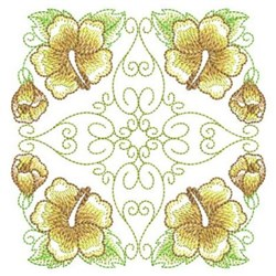 Yellow Hibiscus Quilt Square embroidery design