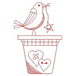 Redwork Country Bird & Pot embroidery design