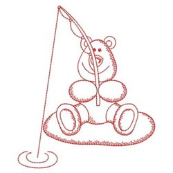 Redwork Fishing Bear embroidery design