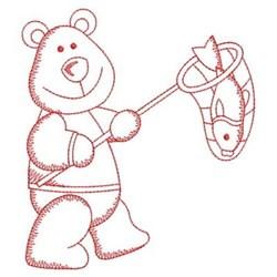 Redwork Bear & Net embroidery design