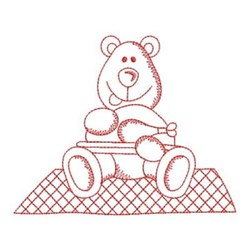 Redwork Picnic Bear embroidery design