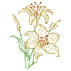 Vintage Lily With Pollen embroidery design