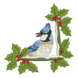 Holly And Blue Jay embroidery design