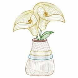 Rippled Floral Vase embroidery design
