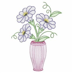 Rippled Flower Vase embroidery design