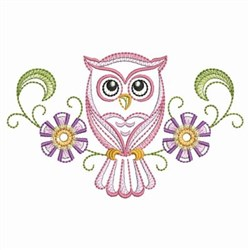 Baby Owl In Centre embroidery design