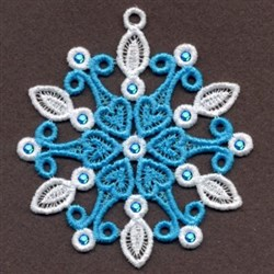 FSL Heart Crystal Snowflake embroidery design