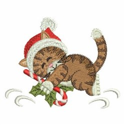 Christmas Cat With Candy Cane embroidery design