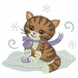 Christmas Cat With Snowflakes embroidery design