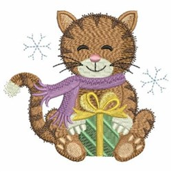 Christmas Cat With Present embroidery design