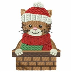 Christmas Cat In A Witness Box embroidery design