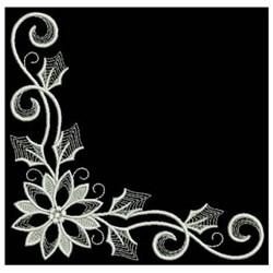 White Work Corner Poinsettia embroidery design