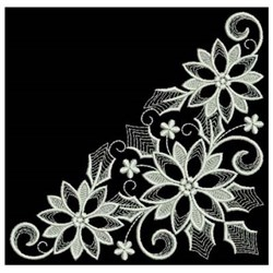 White Work Poinsettia Corner embroidery design