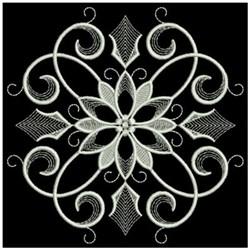 White Work Poinsettia In Center embroidery design