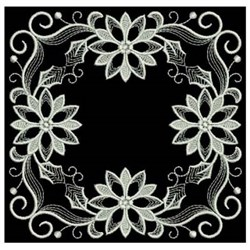 White Work Poinsettia With Leaf embroidery design