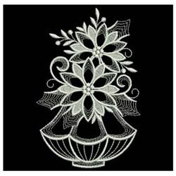 White Work Poinsettia In Vase embroidery design