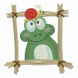 Frog And Snail In Frame embroidery design