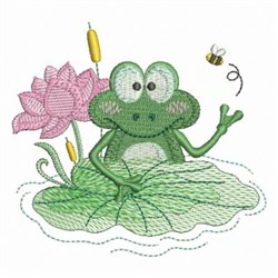 Flower And Frog embroidery design