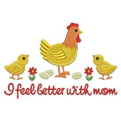 Spring Chick With Hen embroidery design