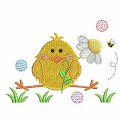 Spring Chick On A Branch embroidery design
