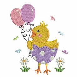 Spring Chick With Balloons embroidery design