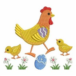 Spring Chick , Egg And Flower embroidery design