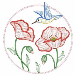 Poppy Flower And Bird In Circle embroidery design