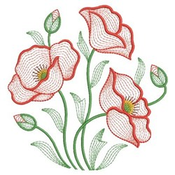 Poppy Rippled embroidery design
