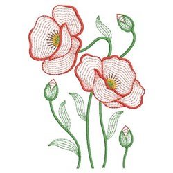 Rippled Poppy Beauty embroidery design