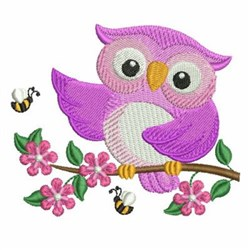 Owl And Bee embroidery design