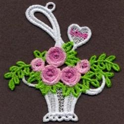 Rose Basket FSL embroidery design