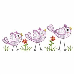 Rippled Birds embroidery design