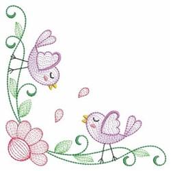 Rippled Birds Corner embroidery design