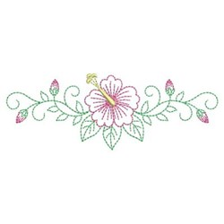 Outline Hibiscus embroidery design