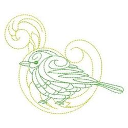 Baroque Bird Outline embroidery design