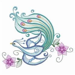 Peacock Floral embroidery design