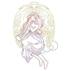 Horn Angel embroidery design