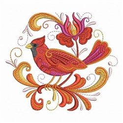 Rosemaling Cardinal Hexagon embroidery design