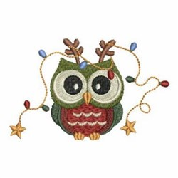 Christmas Lights Owl embroidery design