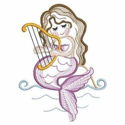 Harp Mermaid embroidery design