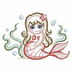 Red Mermaid embroidery design