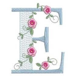 Love Rose Alphabet E embroidery design