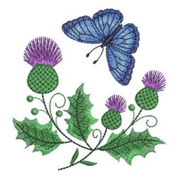 Thistle Butterfly embroidery design