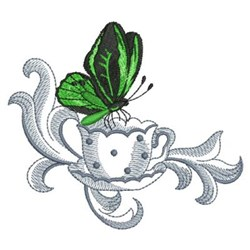 Butterfly & Coffee embroidery design