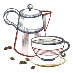 Coffee Cup & Pot embroidery design
