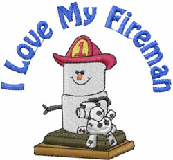 I Love My Fireman embroidery design