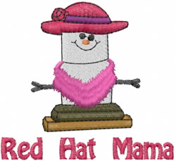 Red Hat Mama embroidery design