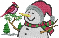 Snowman and Cardinal embroidery design