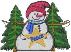 Snowman PEACE embroidery design